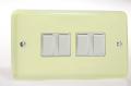 Varilight Pastel 4 Gang 10A 1 or 2 way Rocker Light Switch twin plate White Chocolate